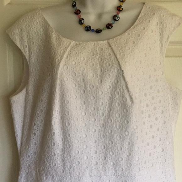 COLDWATER CREEK plus size white eyelet dress.